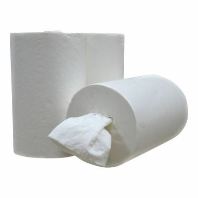 Poetsrollen mini, kokerloos, 120m, 1-laags, cellulose wit, 12 rollen